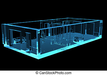 3D rendered blue xray transparent flat