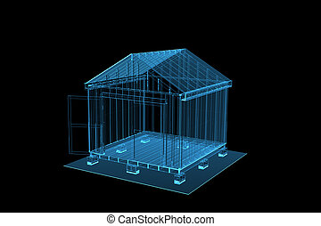 3D rendered blue xray transparent shed