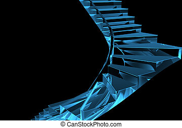 3D rendered blue xray transparent staircase