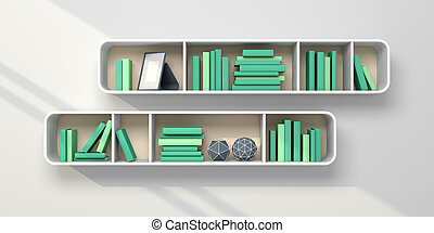 3d rendered bookshelves. - 3d rendered bookshelves with...