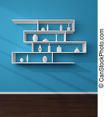 3d rendered bookshelves.
