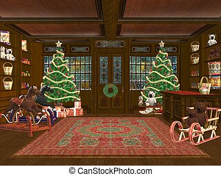 Christmas shop - 3D rendered Christmas shop with tree,...