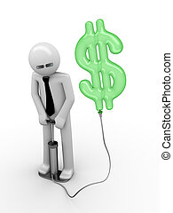 3d rendered copyspaced image with a man pumping a dollar...