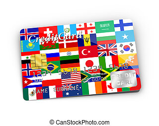 Credit Card covered with Flags.