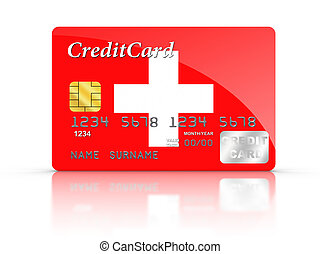 Credit Card covered with switzerland flag.