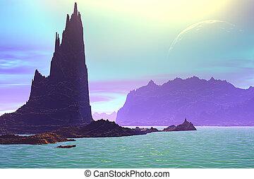3D rendered fantasy alien planet. Rocks and lake - Alien ...