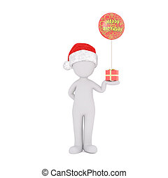 3D rendered figure in Christmas hat holding gift