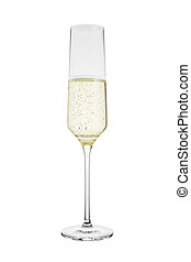 3D Rendered Flute of Champagne Isolated on White Background
