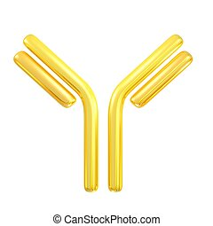 antibody - 3d rendered golden antibody symbol for pharmacy...