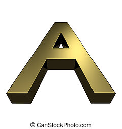 3d rendered golden font - letter A