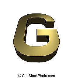 3d rendered golden font - letter G