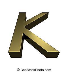 3d rendered golden font - letter K