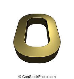 3d rendered golden font - letter O