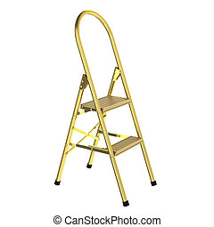 3D rendered golden ladder