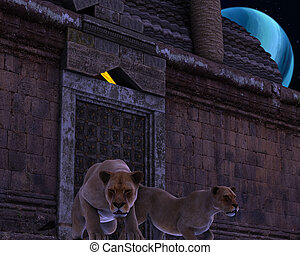Guardian Lions of an ancient fantasy temple - 3D rendered -...