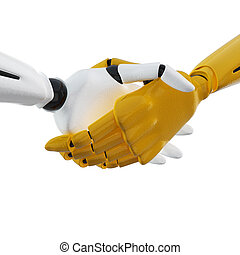 3D rendered handshake of robotic hands. Including clipping...