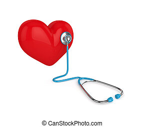 3d rendered heart with stethoscope isolated on white