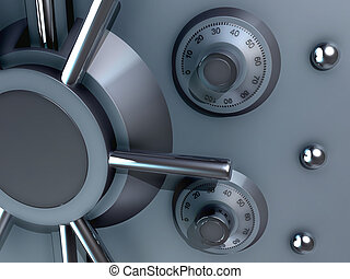 bank safe - 3d rendered illustration from a part of a bank ...