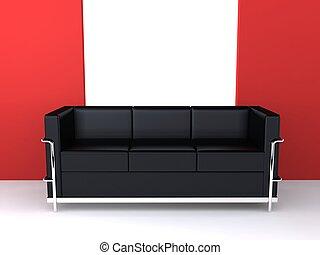 3d rendered illustration of a black designer sofa