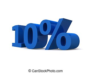 10% - 3d rendered illustration of a blue 10% sign