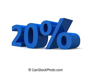 20% - 3d rendered illustration of a blue 20% sign