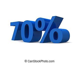70% - 3d rendered illustration of a blue 70% sign