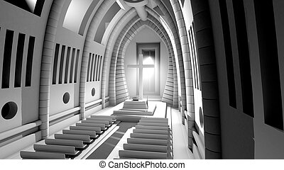 3D rendered Illustration of a Cathedral Interior