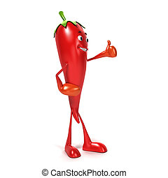 3d rendered illustration of a chili character