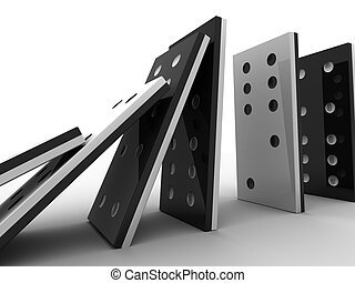 domino line - 3d rendered illustration of a domino line