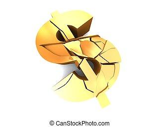 broken dollar - 3d rendered illustration of a golden broken...