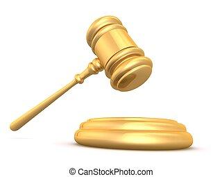golden gavel - 3d rendered illustration of a golden gavel on...