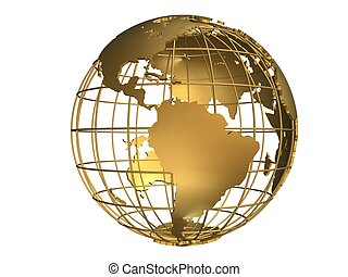 metal globe - 3d rendered illustration of a golden metal...