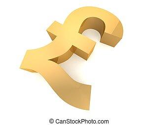 pound sign - 3d rendered illustration of a golden pound sign