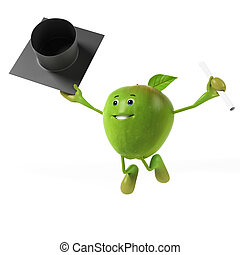 3d rendered illustration of a green apple