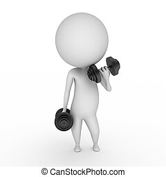 guy with weights - 3d rendered illustration of a guy with ...