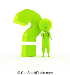 little green guy with a question mark - 3d rendered...
