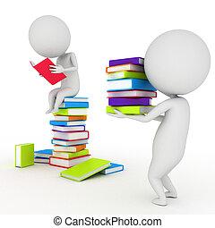 3d rendered illustration of a little guy reading books