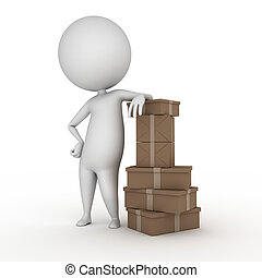 little guy with some packages - 3d rendered illustration of...
