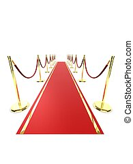 red carpet - 3d rendered illustration of a red carpet and...