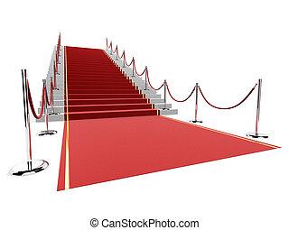 red carpet - 3d rendered illustration of a red carpet on ...