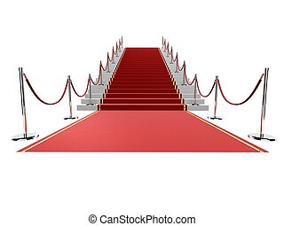 3d rendered illustration of a red carpet on stairs