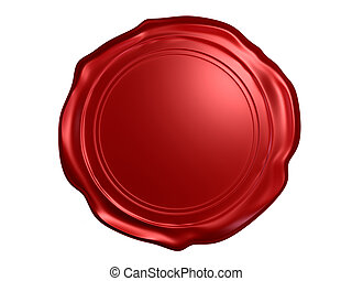 3d rendered illustration of a red wax seal