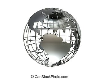 metal globe - 3d rendered illustration of a silver metal ...
