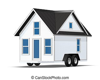 3D Rendered Illustration of a tiny house on a trailer. House...