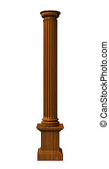 3d rendered illustration of a wood column