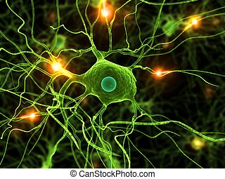 active nerve cells - 3d rendered illustration of active...