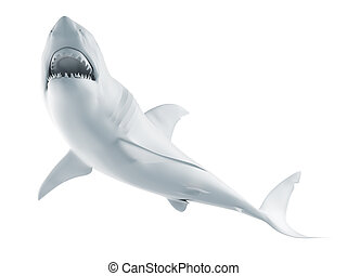 white shark - 3d rendered illustration of an abstract white ...