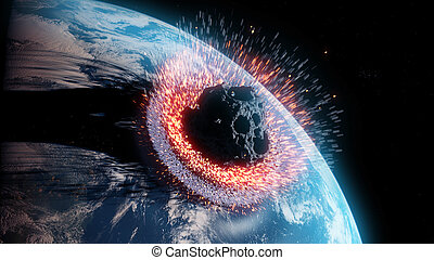 an asteroid impacts earth
