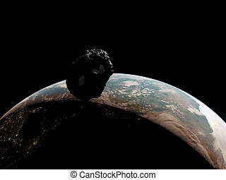 an asteroid infront of the earth