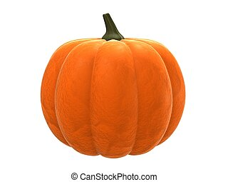 pumpkin - 3d rendered illustration of an isolated orange ...